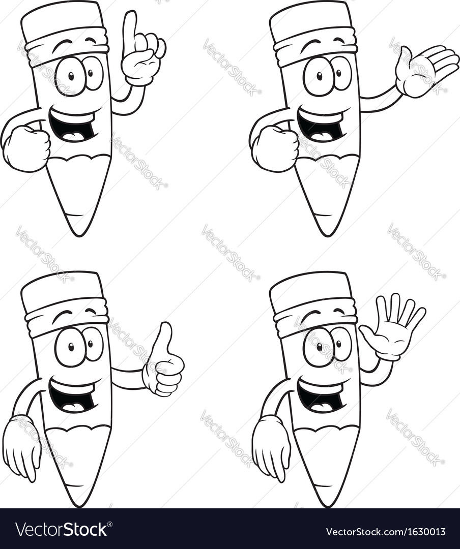 Black and white talking cartoon pencils set vector | Price: 1 Credit (USD $1)