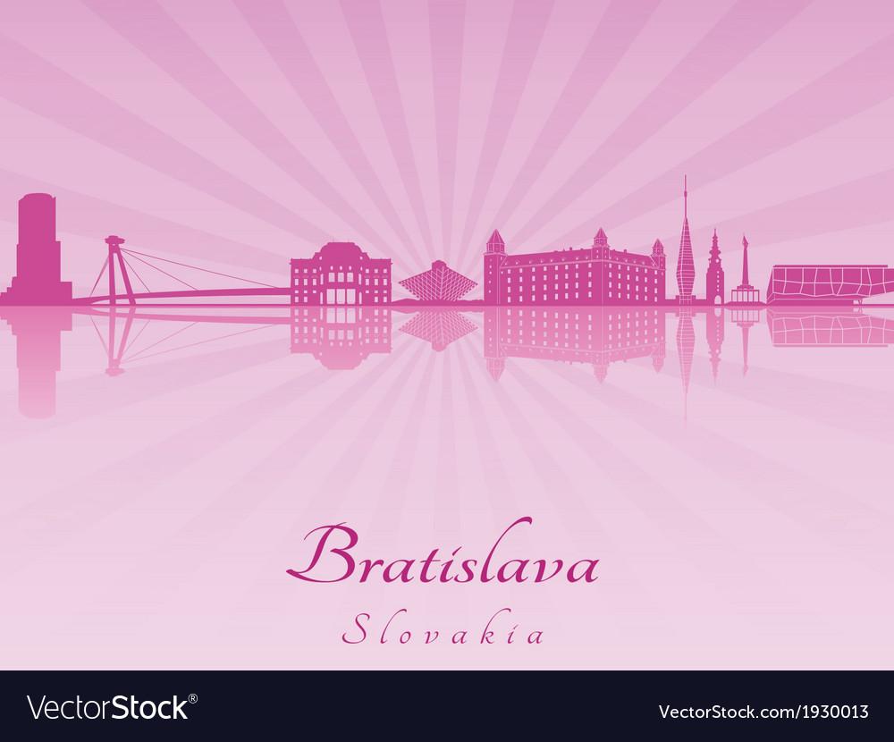 Bratislava skyline in purple radiant orchid vector | Price: 1 Credit (USD $1)