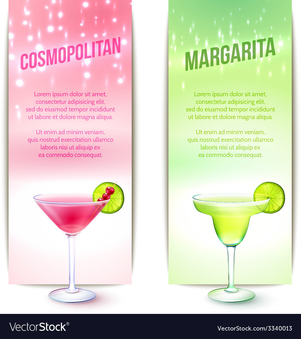 Cocktails banner set vector