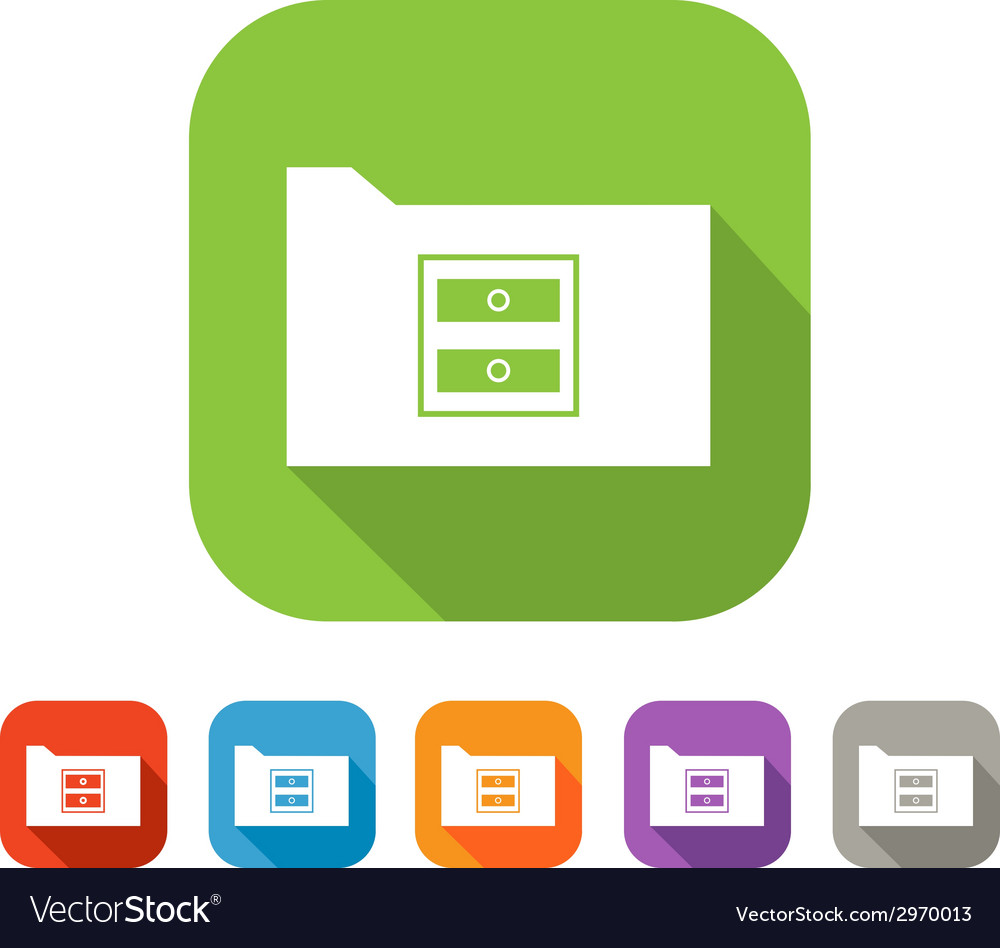 Color set of flat folder with chest-of-drawers vector | Price: 1 Credit (USD $1)