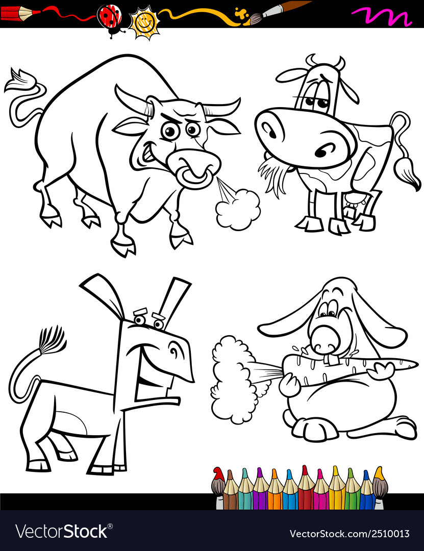 Farm animals set cartoon coloring book vector | Price: 1 Credit (USD $1)