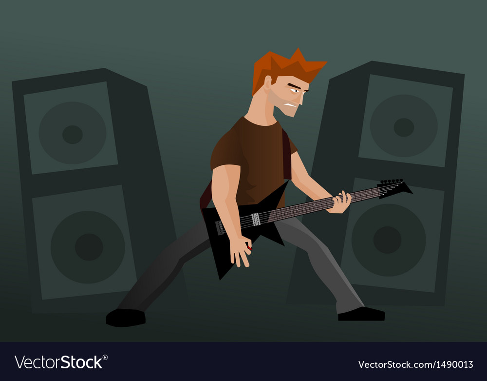 Heavy metal guitar player vector | Price: 1 Credit (USD $1)