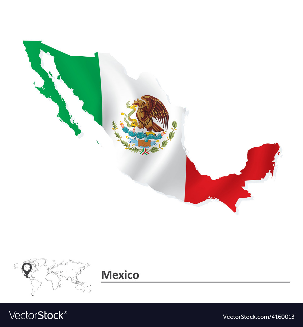 Map of mexico with flag vector | Price: 1 Credit (USD $1)