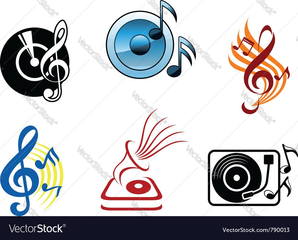 Musical icons and symbols vector | Price: 1 Credit (USD $1)