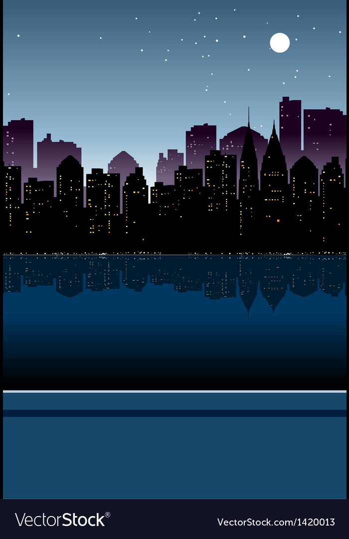 Night cityscape view vector | Price: 1 Credit (USD $1)