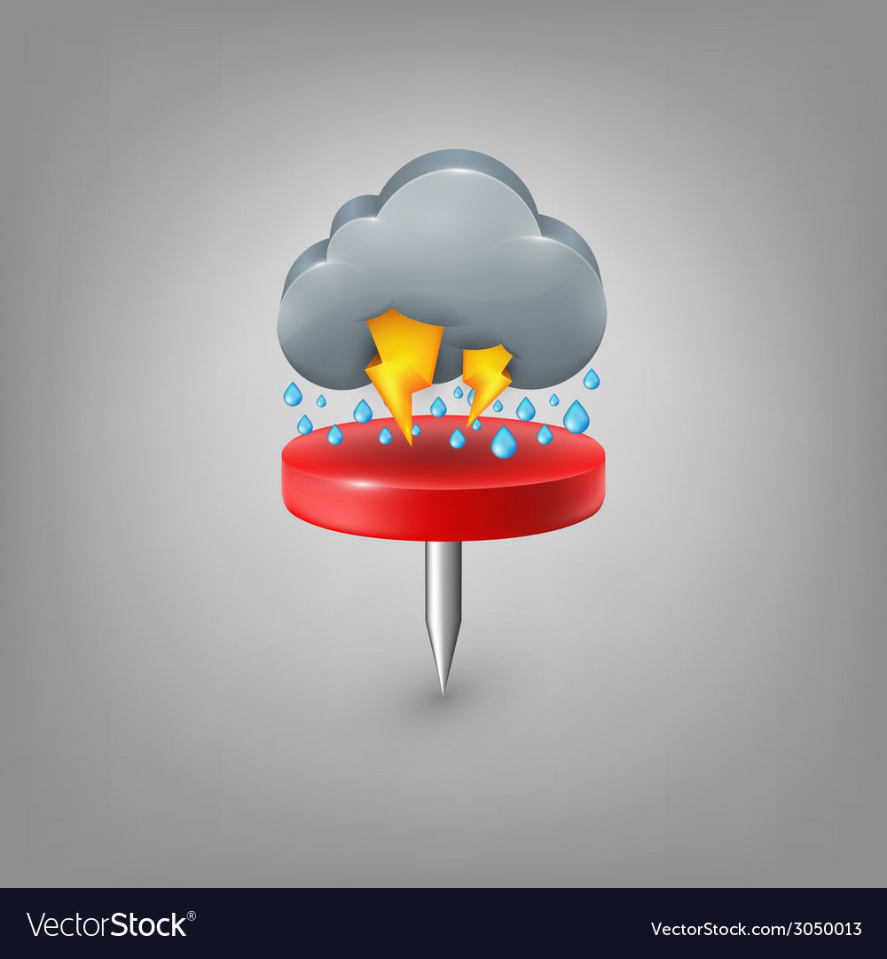 Red pin icon weather rain cloud lightning vector | Price: 1 Credit (USD $1)