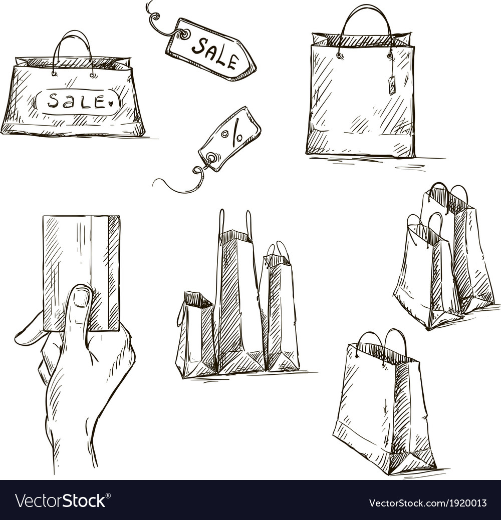 Shopping icons sale tag paper bags vector | Price: 1 Credit (USD $1)