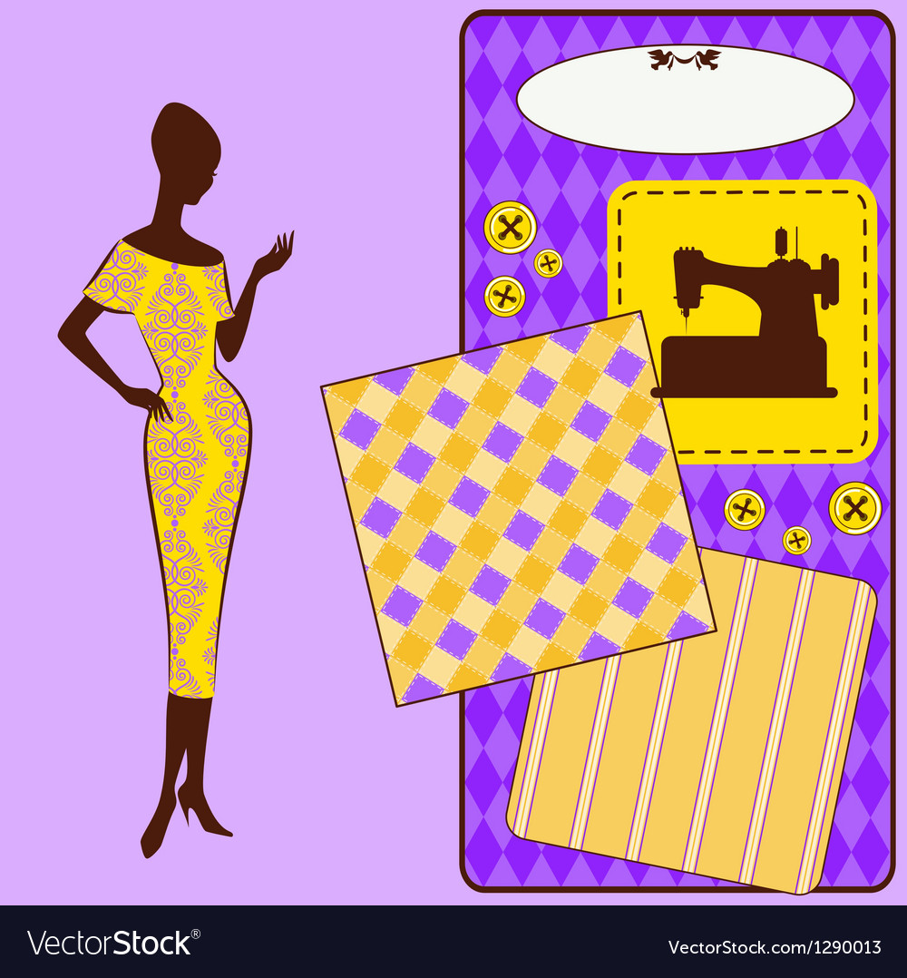 Vintage sewing element s with woman silhouette vector | Price: 1 Credit (USD $1)