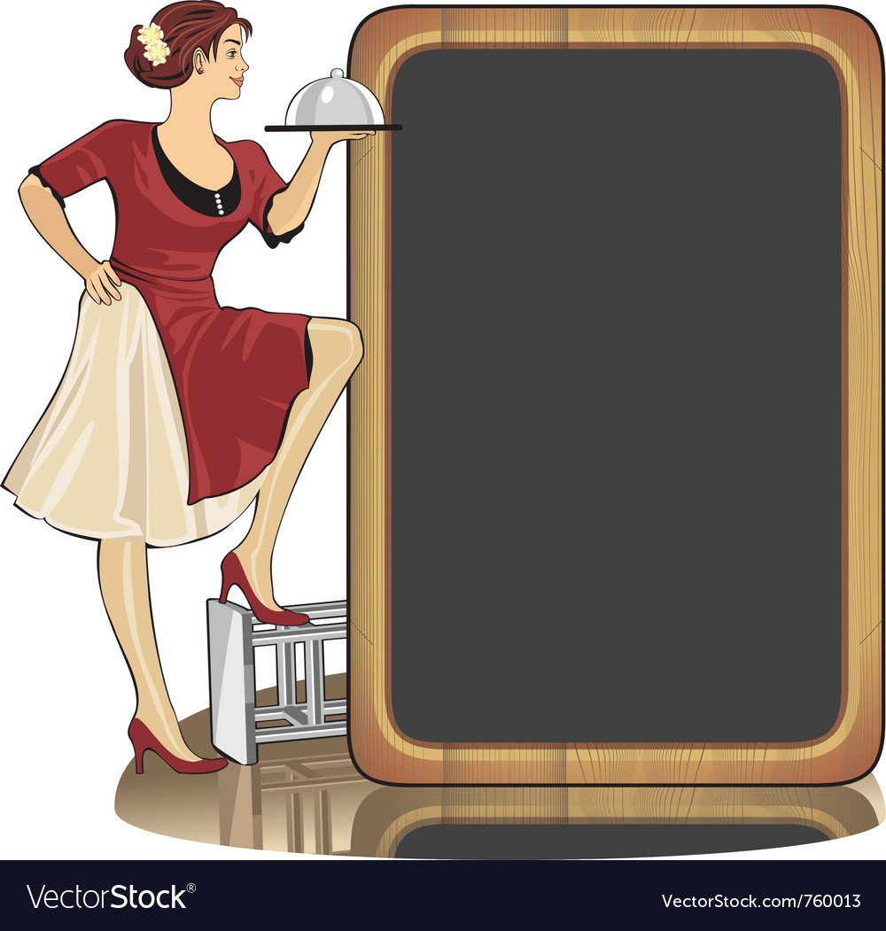 Waitress with a tray vector | Price: 3 Credit (USD $3)