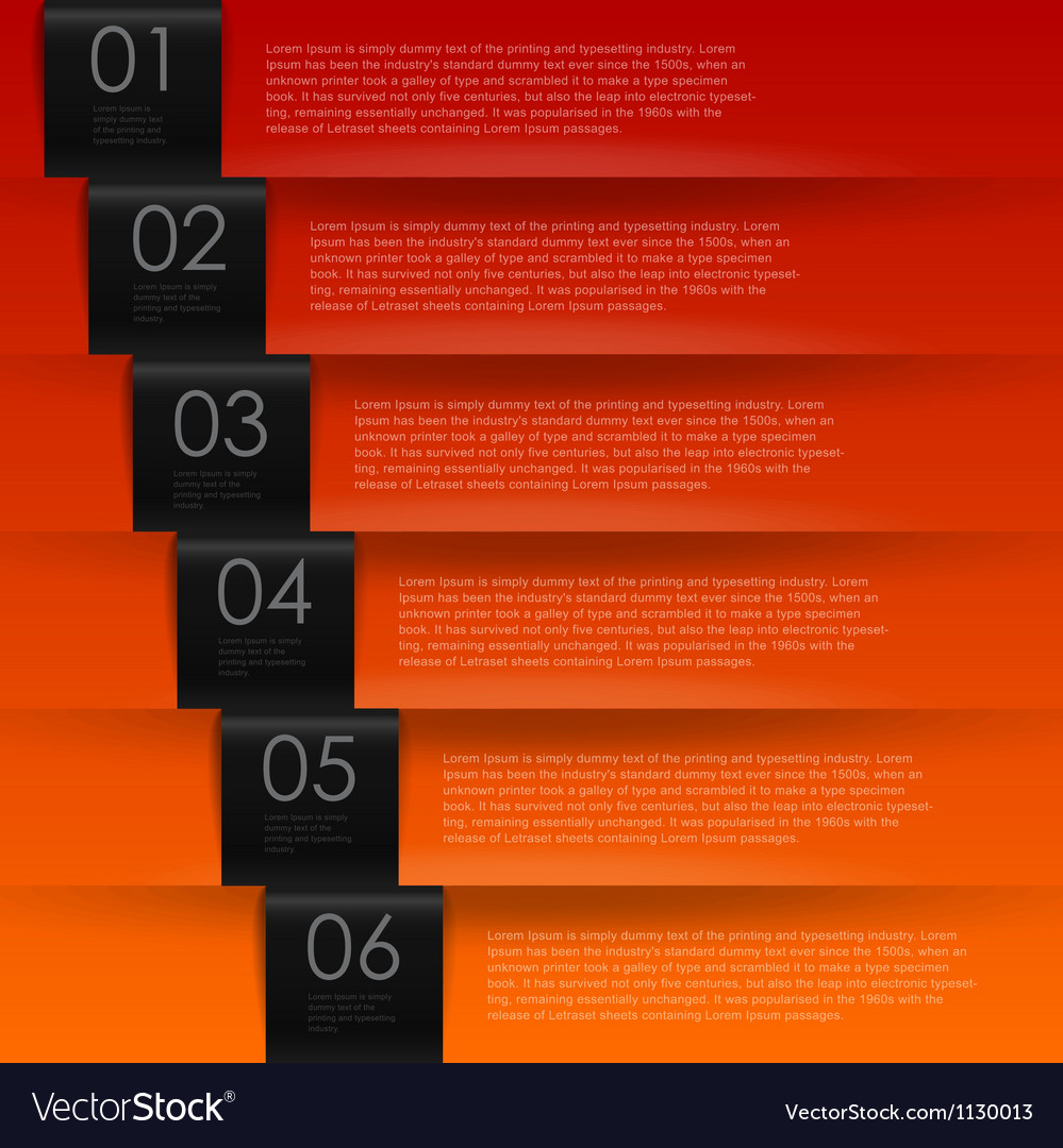 Warm color numbered banners vector | Price: 1 Credit (USD $1)