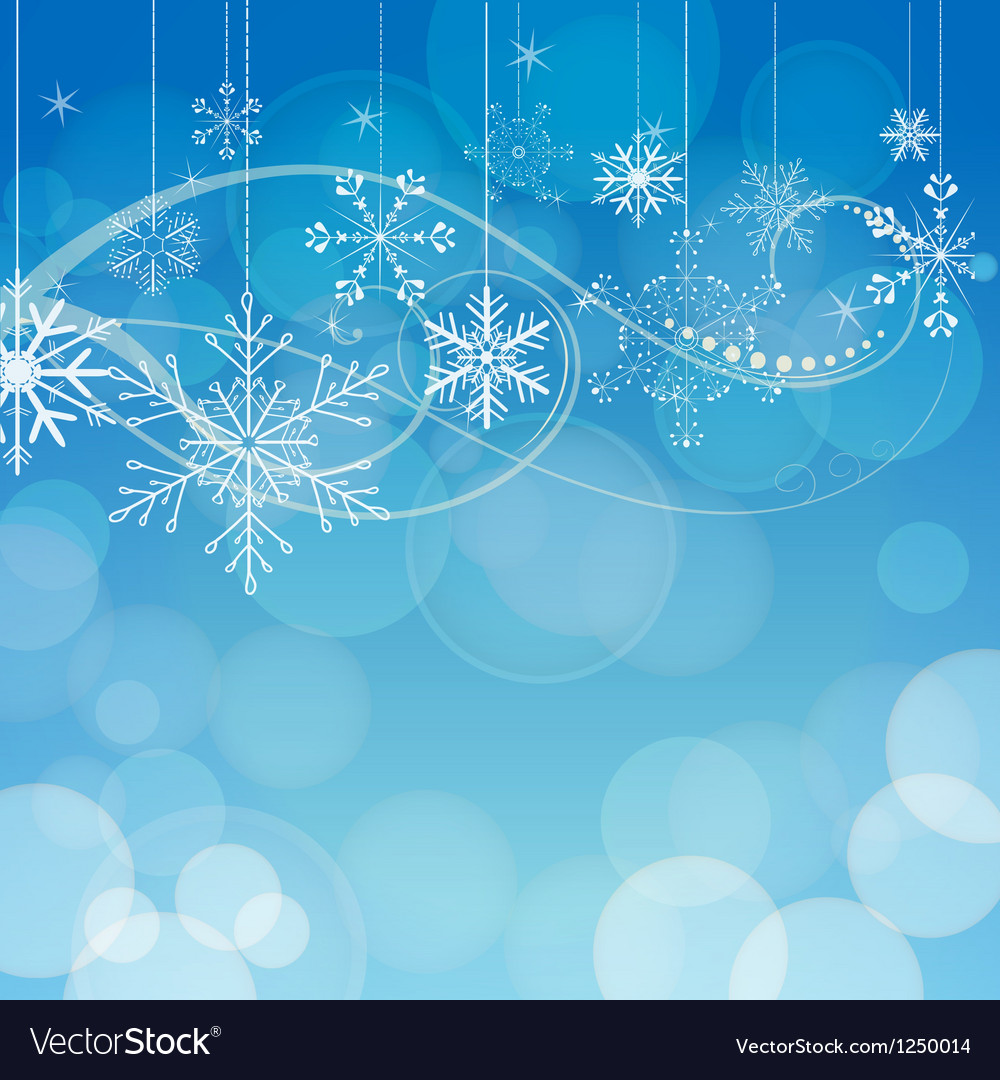 Abstract snowflakes on blue bokeh background vector | Price: 1 Credit (USD $1)