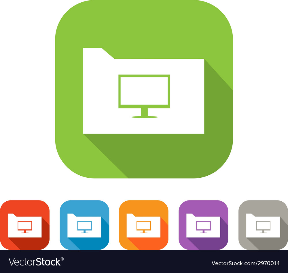 Color set of flat folder with computer vector | Price: 1 Credit (USD $1)