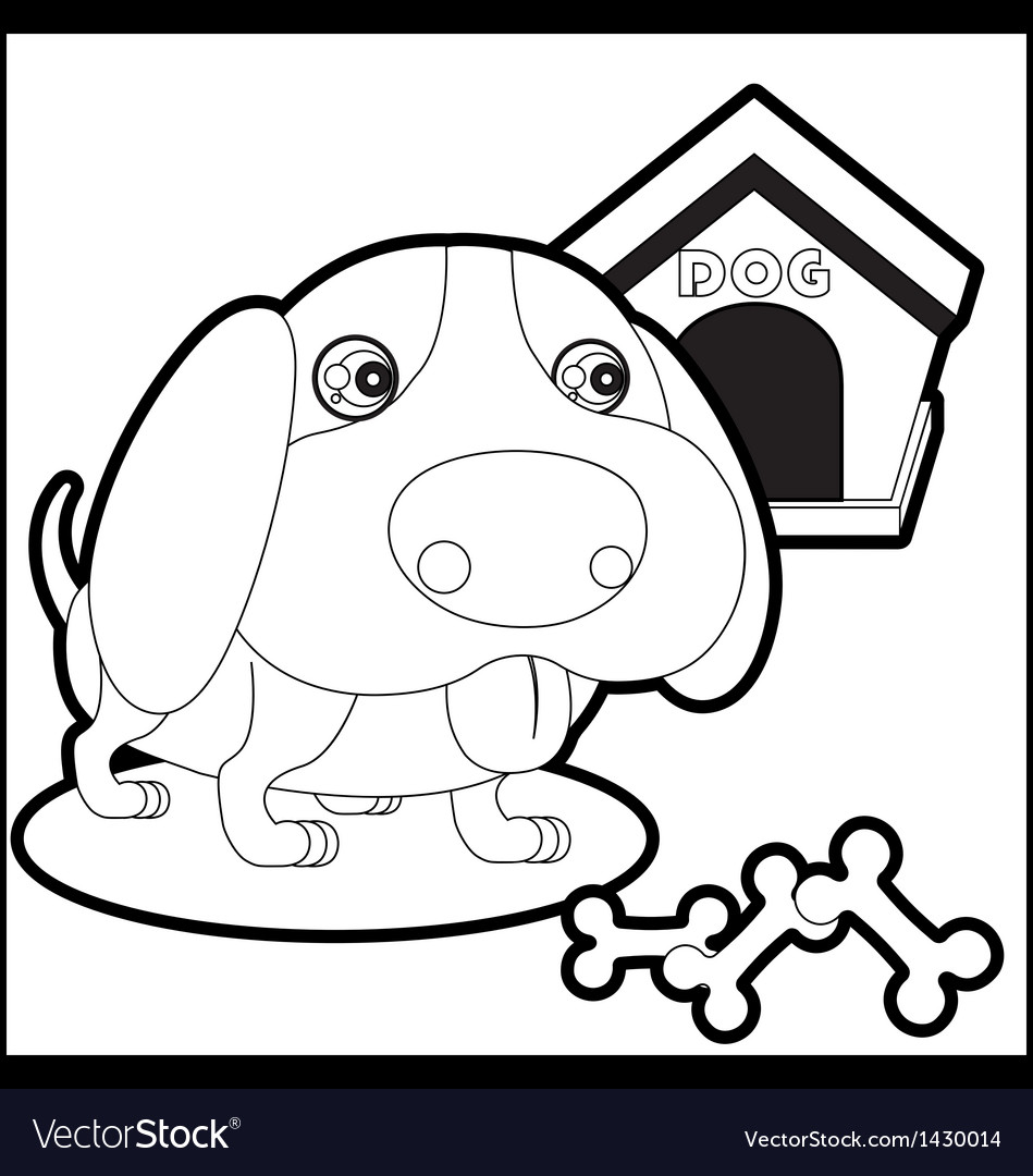 Cute dog with dog house and bones vector | Price: 1 Credit (USD $1)