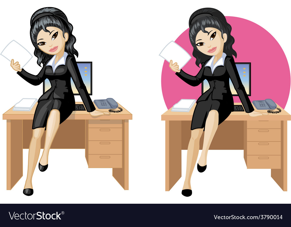 Cute young asian office woman sitting on table vector | Price: 3 Credit (USD $3)
