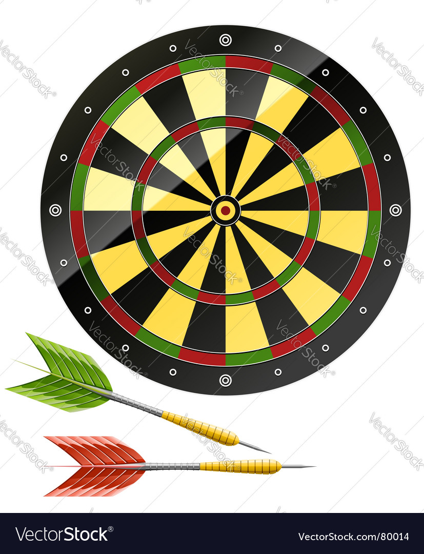 Darts with dart board game vector | Price: 1 Credit (USD $1)