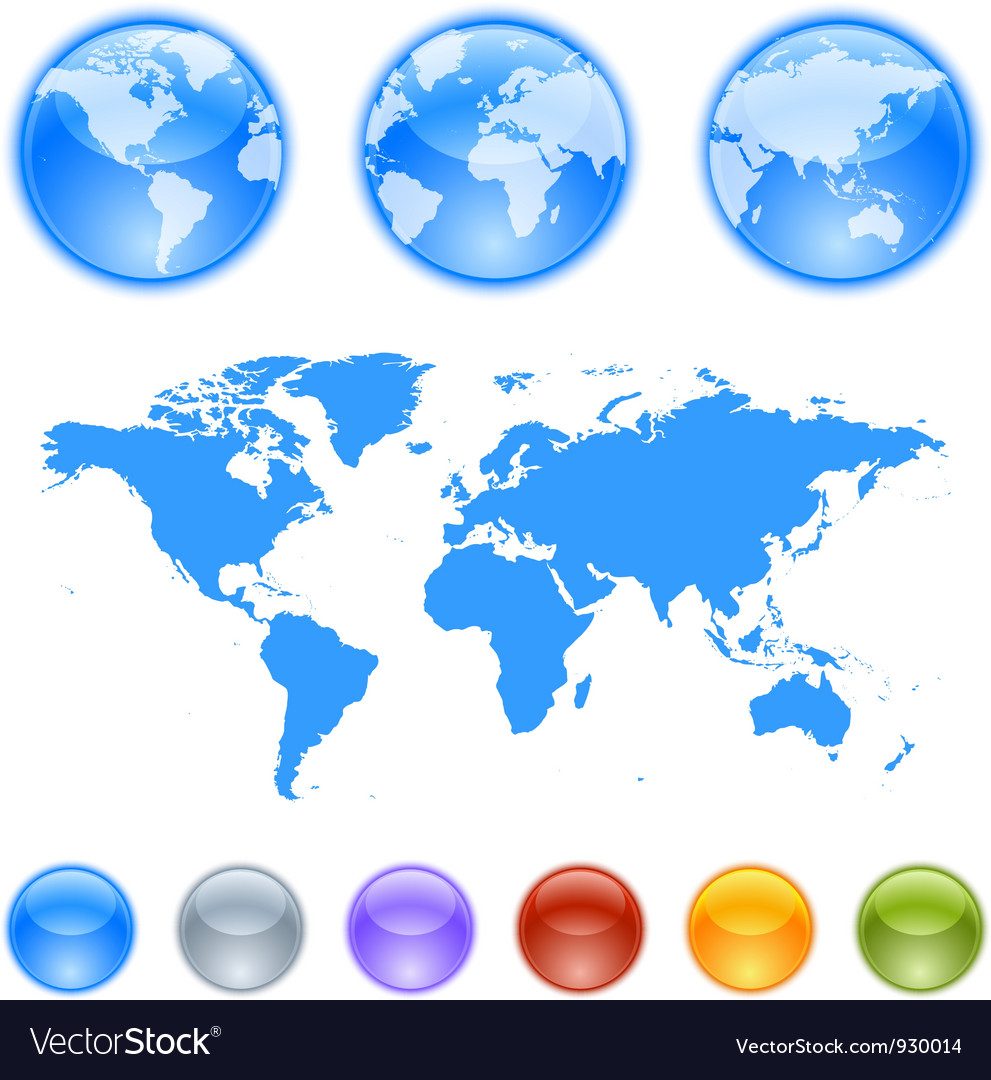 Earth globes creation kit vector | Price: 1 Credit (USD $1)