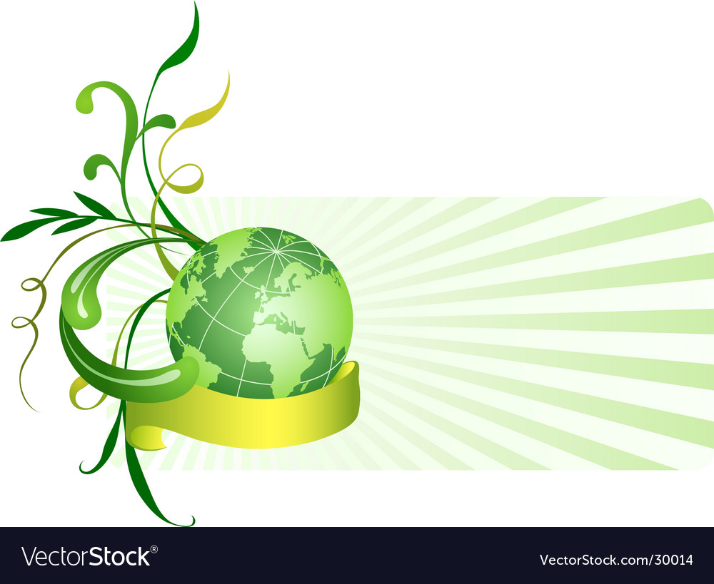 Floral background with globe vector | Price: 1 Credit (USD $1)