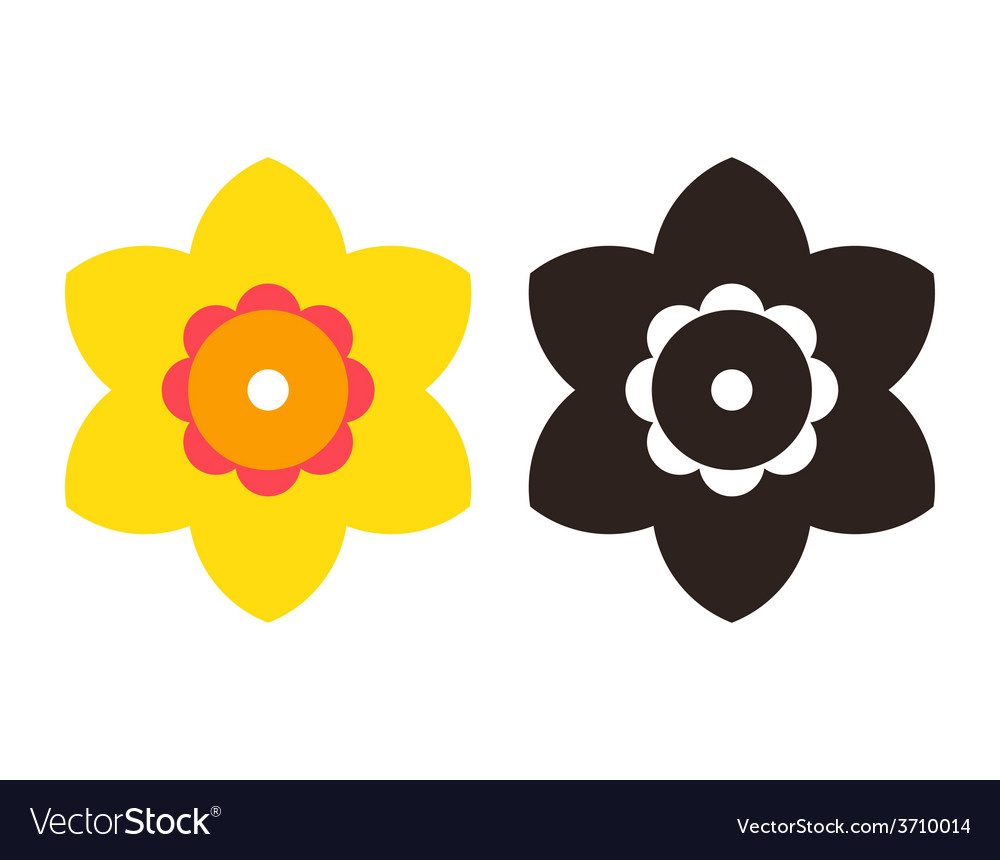 Narcissus - flower icon set vector | Price: 1 Credit (USD $1)