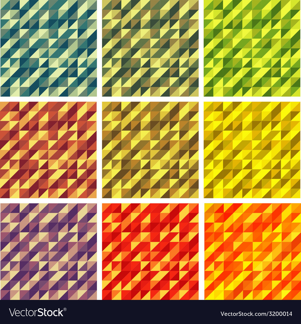 Set colorful 9 bright geometric backgrounds vector | Price: 1 Credit (USD $1)