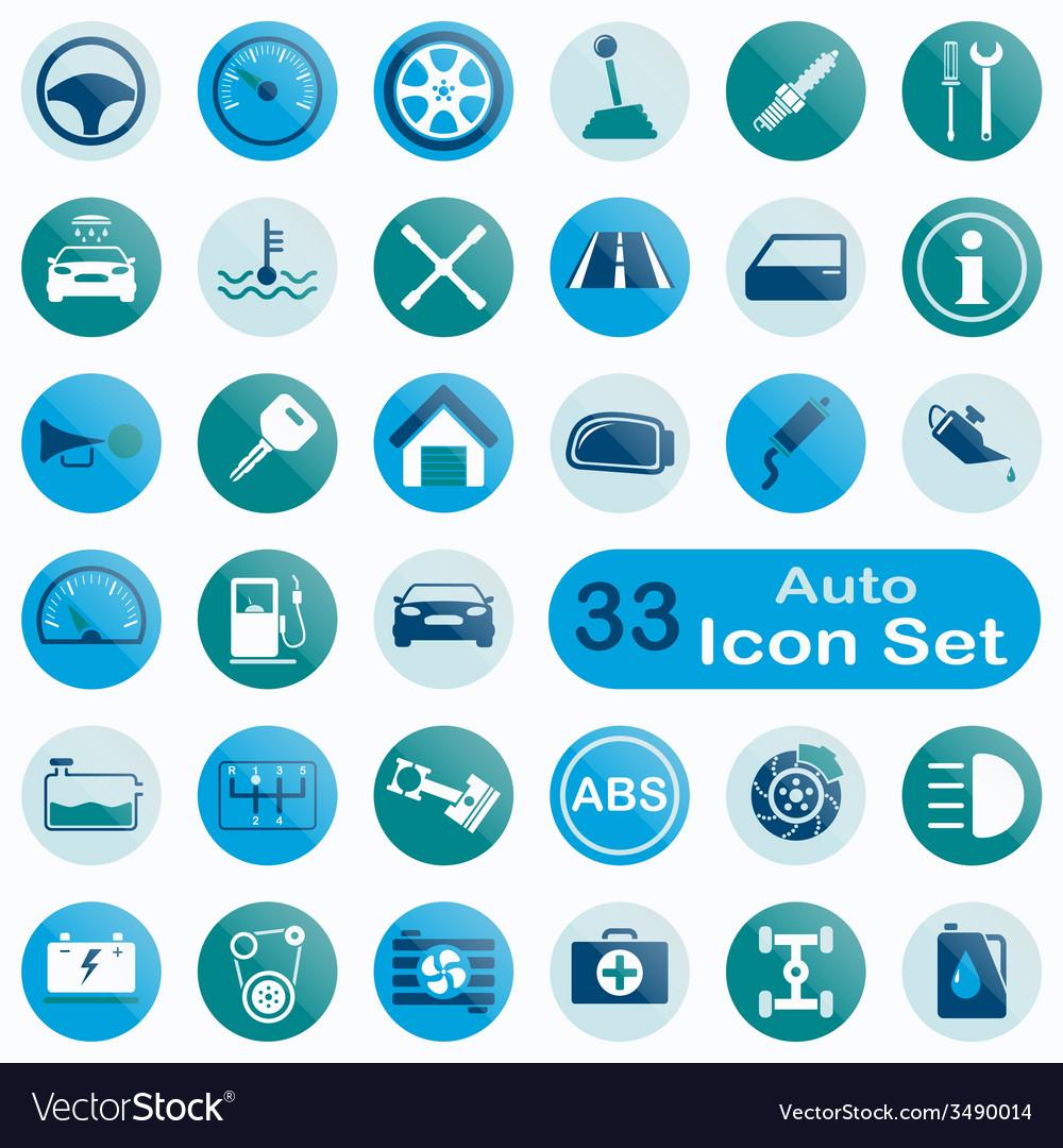 Set of round auto icons vector | Price: 1 Credit (USD $1)