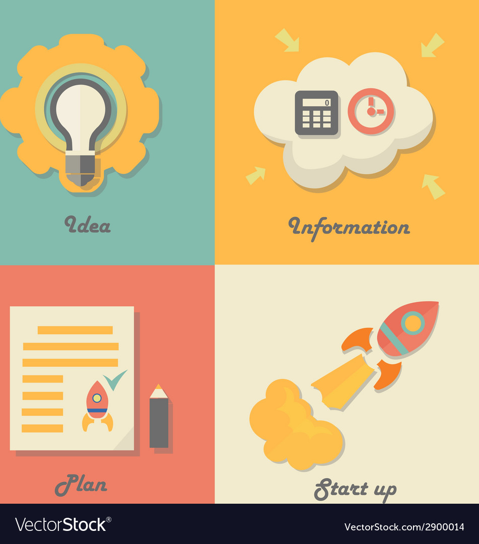 Set of start up icons for new business ideas vector   Price: 1 Credit (USD $1)