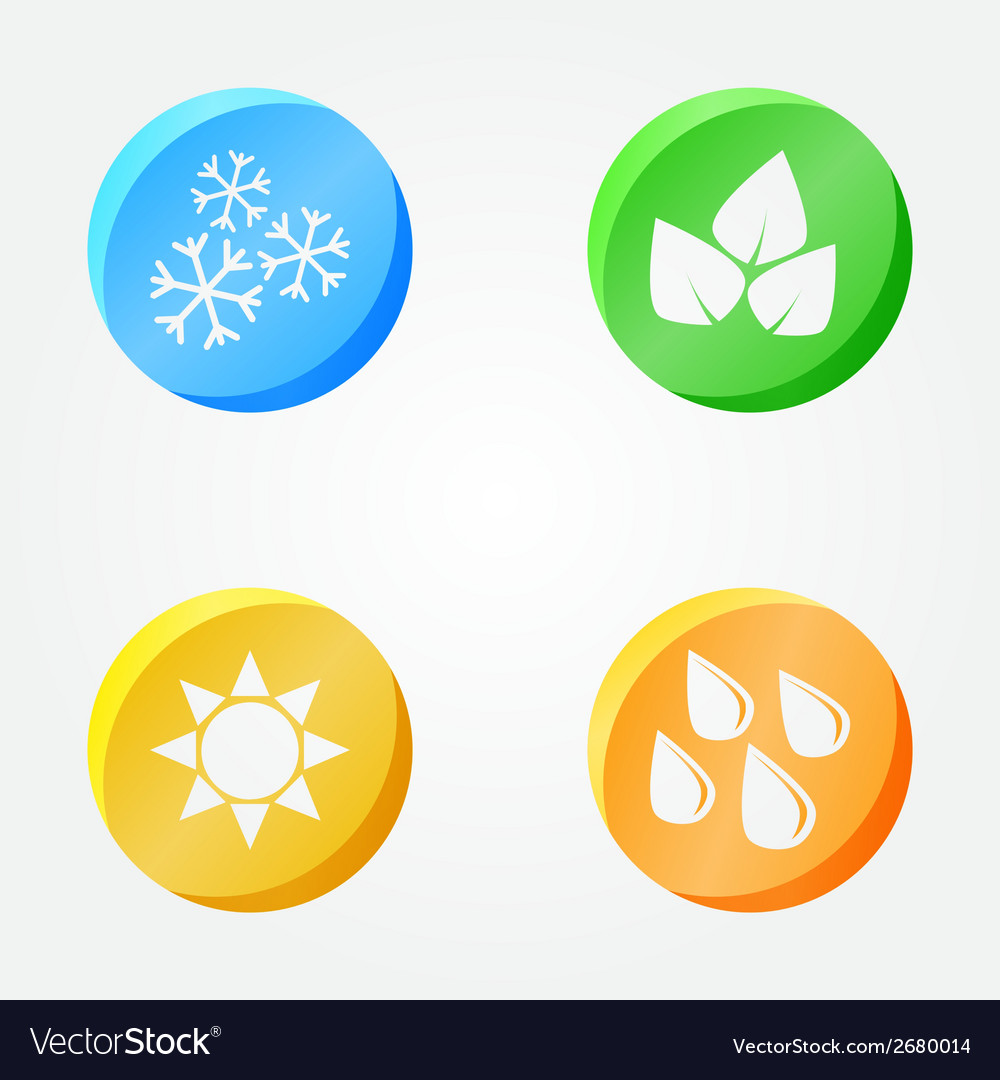Symbols of 4 seasons - winter spring summer autumn vector | Price: 1 Credit (USD $1)