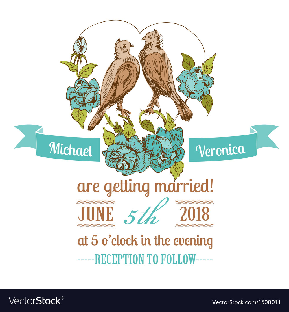 Wedding vintage invitation card vector