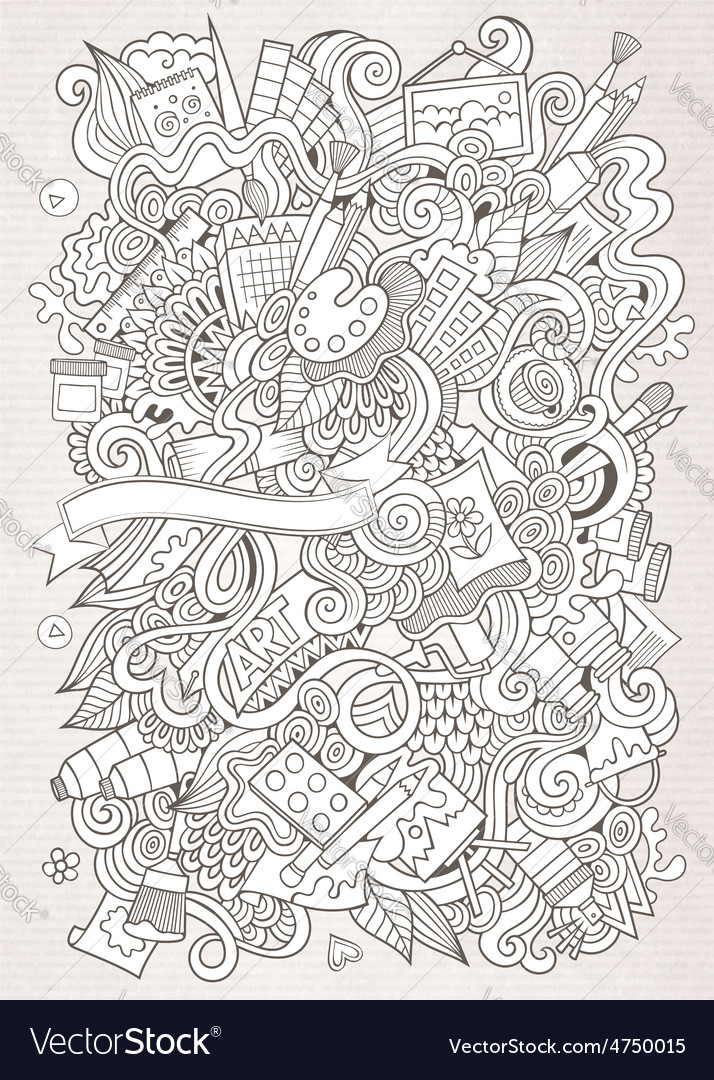 Cartoon sketchy art and craft background vector | Price: 1 Credit (USD $1)