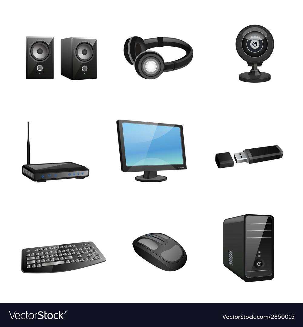 Computer accessories icons black vector | Price: 1 Credit (USD $1)