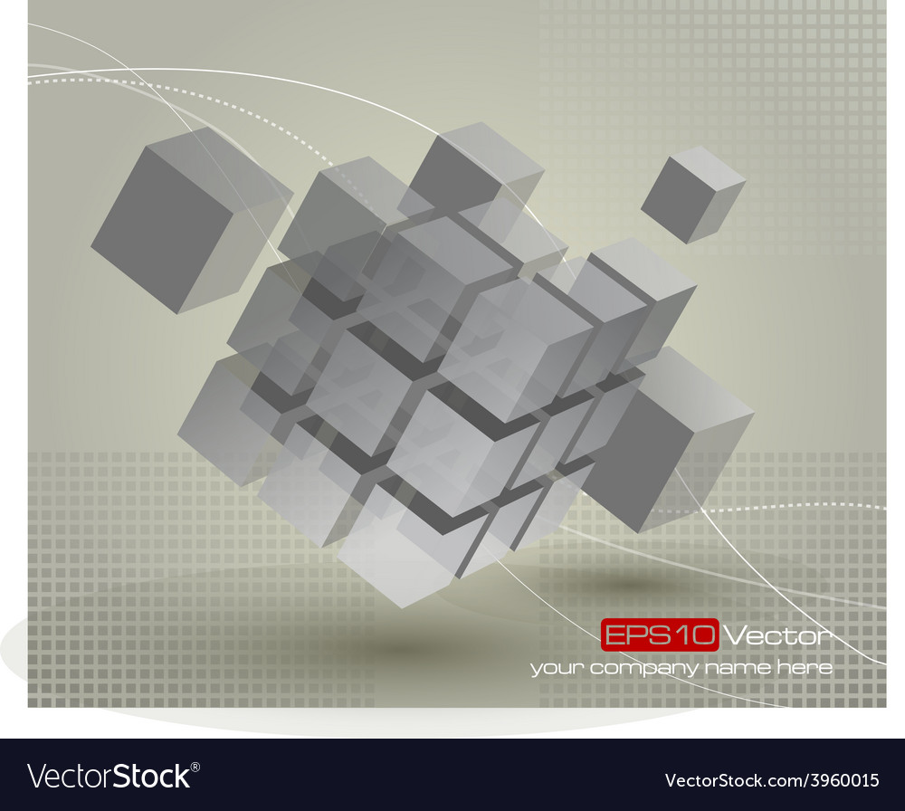 Floating 3d cube with moving segmented parts vector | Price: 1 Credit (USD $1)