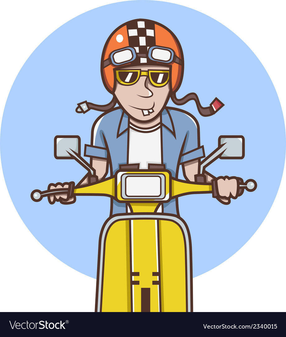 Man with orange helmet riding a yellow scooter vector | Price: 1 Credit (USD $1)