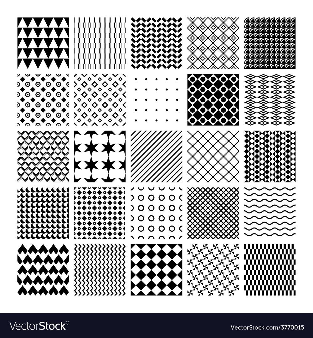 Monochrome seamless patterns vector | Price: 1 Credit (USD $1)