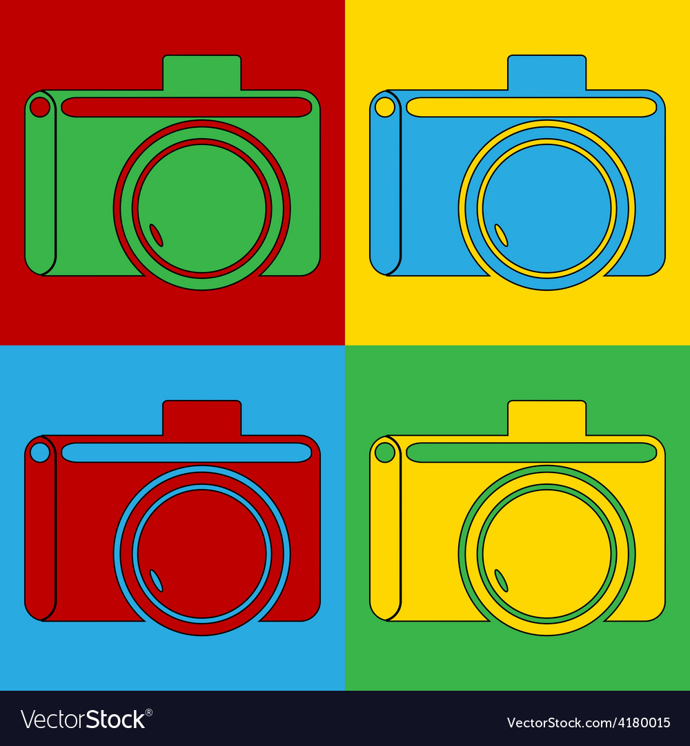 Pop art camera icons vector | Price: 1 Credit (USD $1)