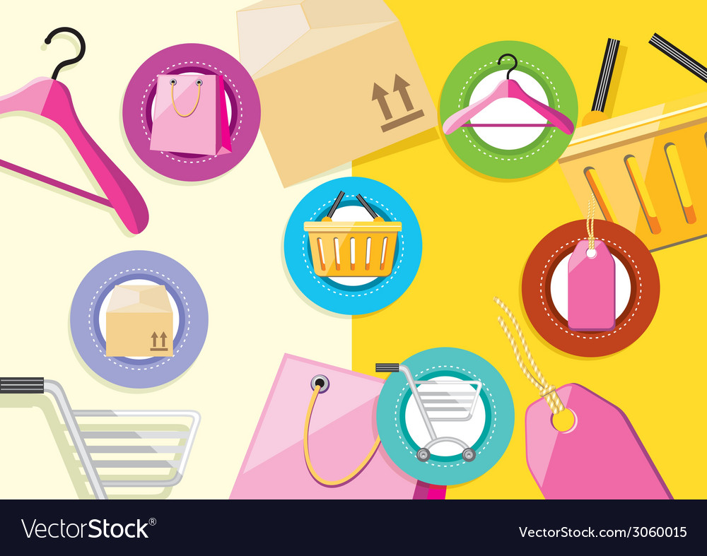 Shopping icons store elements bag tag hanger vector | Price: 1 Credit (USD $1)