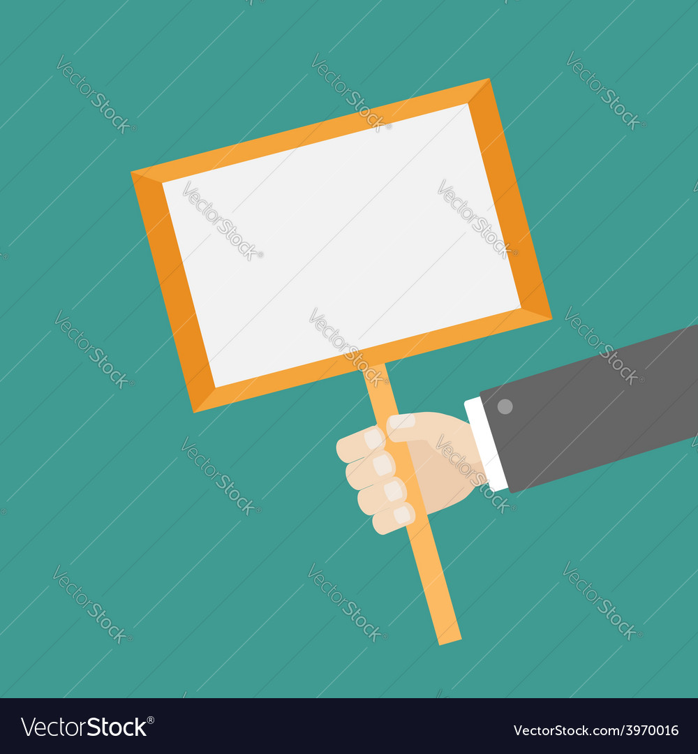 Businessman hand holding paper blank sign plate vector