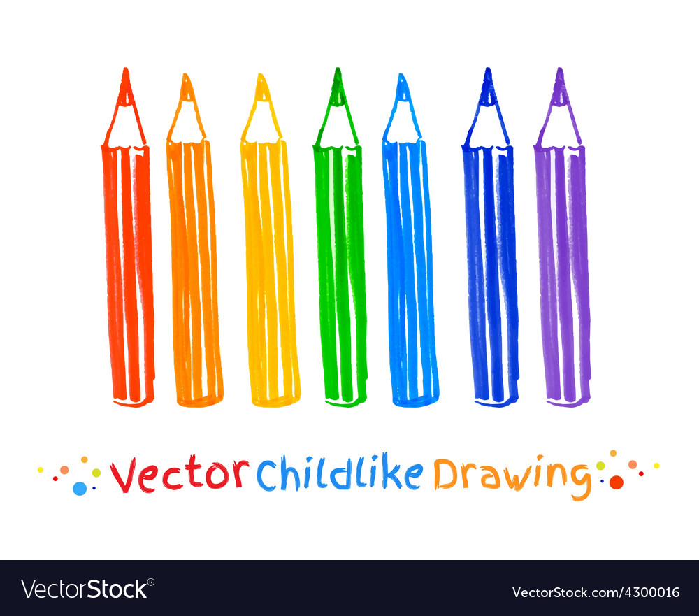 Childlike drawing of pencils vector | Price: 1 Credit (USD $1)
