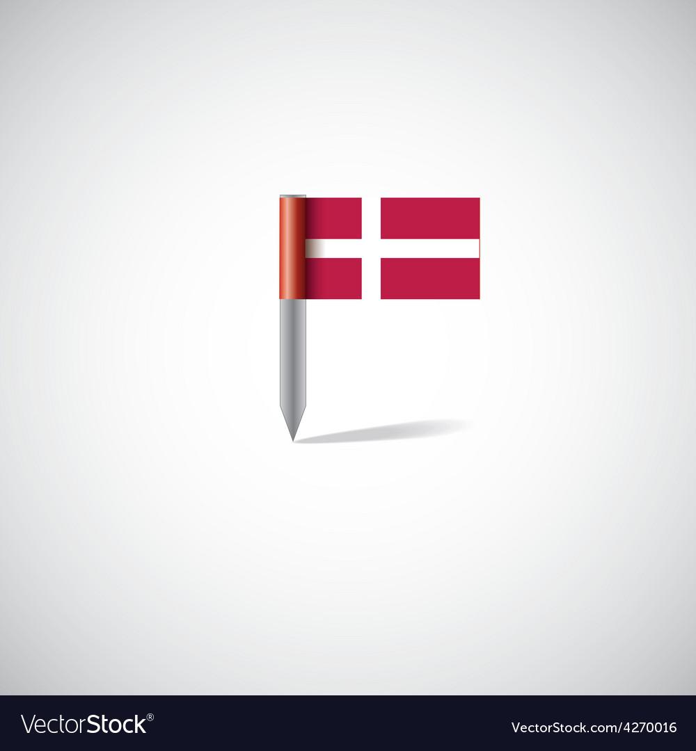 Denmark flag pin vector | Price: 1 Credit (USD $1)