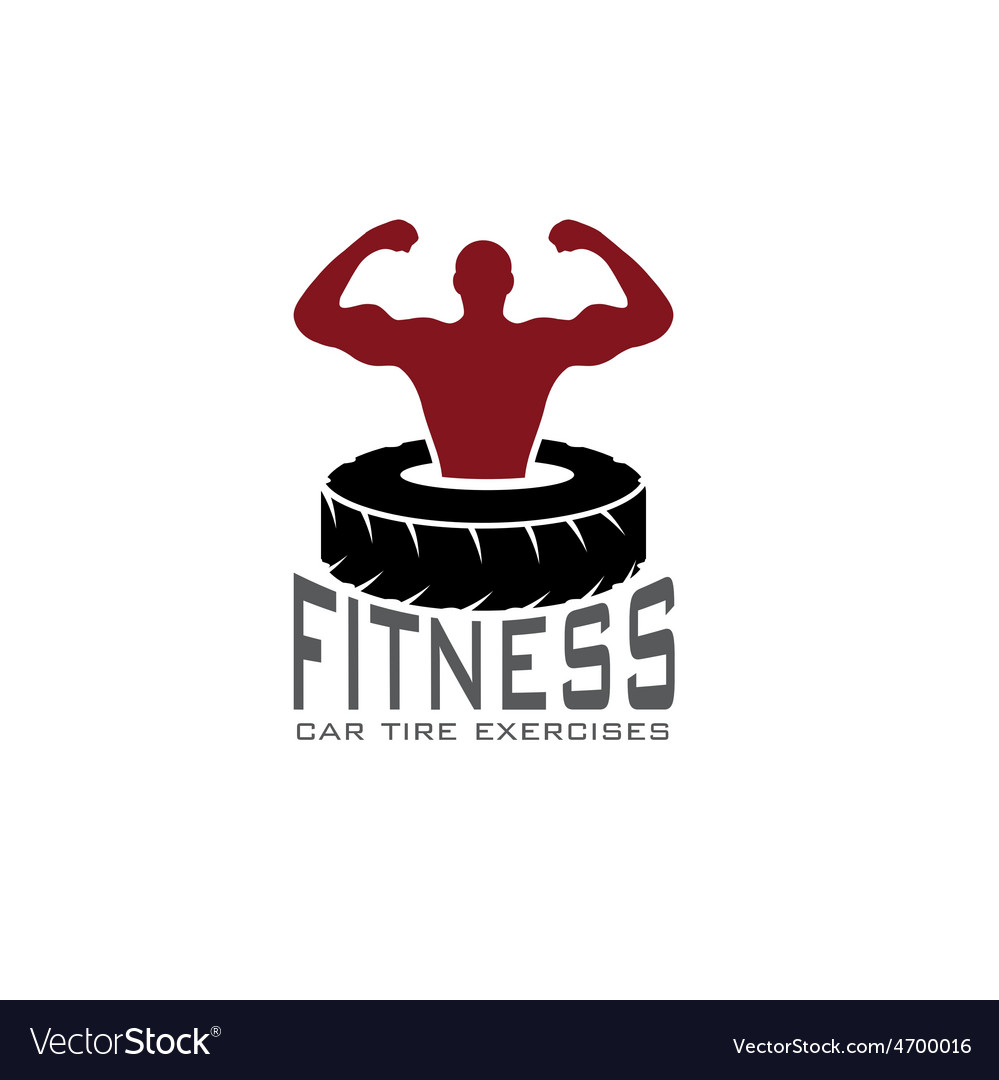Fitness car tire exercises design template vector | Price: 1 Credit (USD $1)