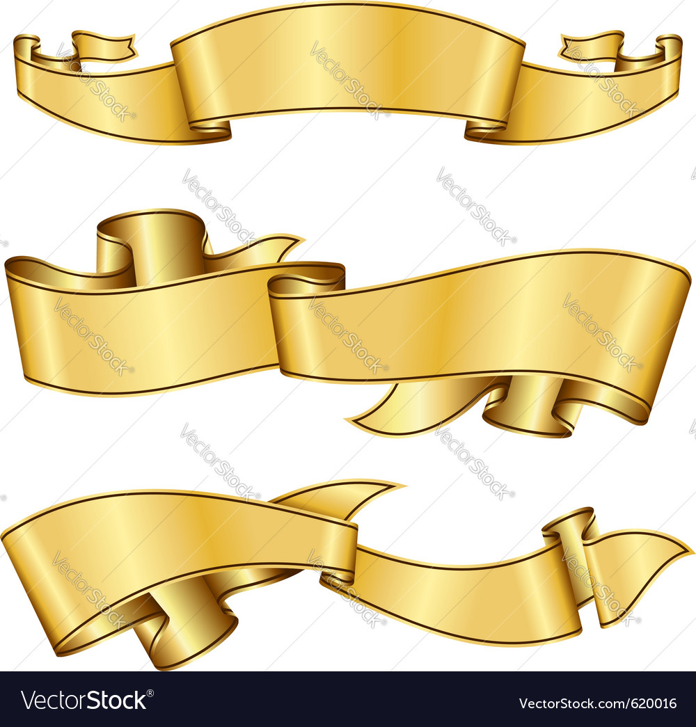 Gold ribbon vector | Price: 1 Credit (USD $1)