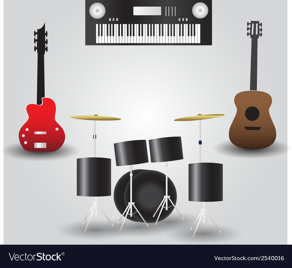 Guitars drums and keyboard music instruments eps10 vector | Price: 1 Credit (USD $1)