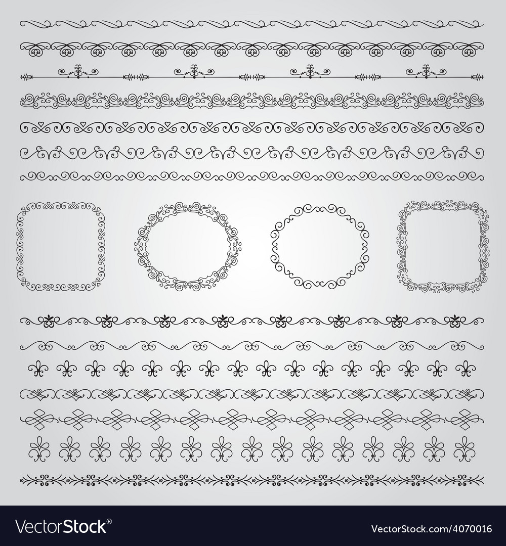 Hand drawn borders and frames vector | Price: 1 Credit (USD $1)