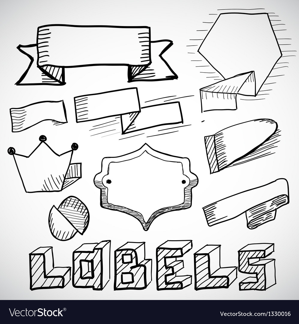 Hand drawn labels and design elements doodles vector | Price: 1 Credit (USD $1)