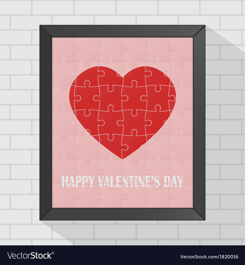 Heart puzzle valentine in frame vector | Price: 1 Credit (USD $1)
