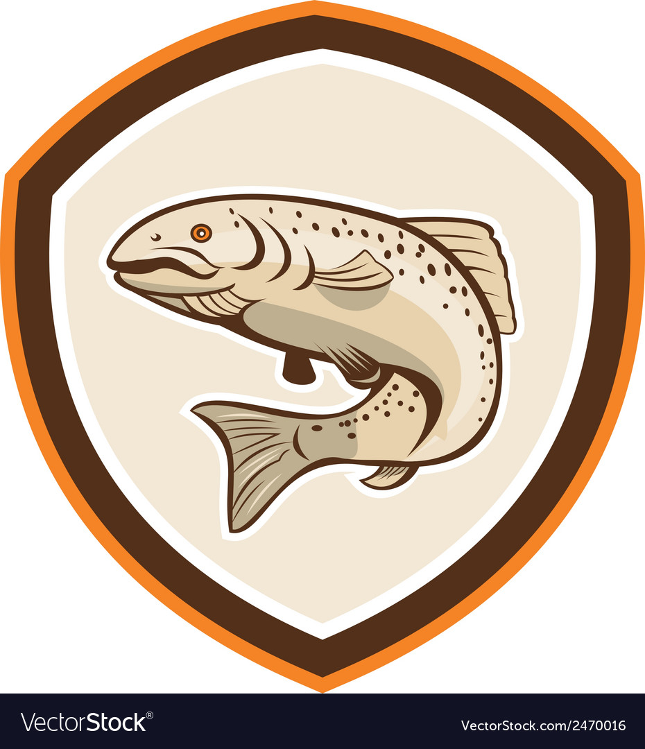 Rainbow trout jumping cartoon shield vector | Price: 1 Credit (USD $1)