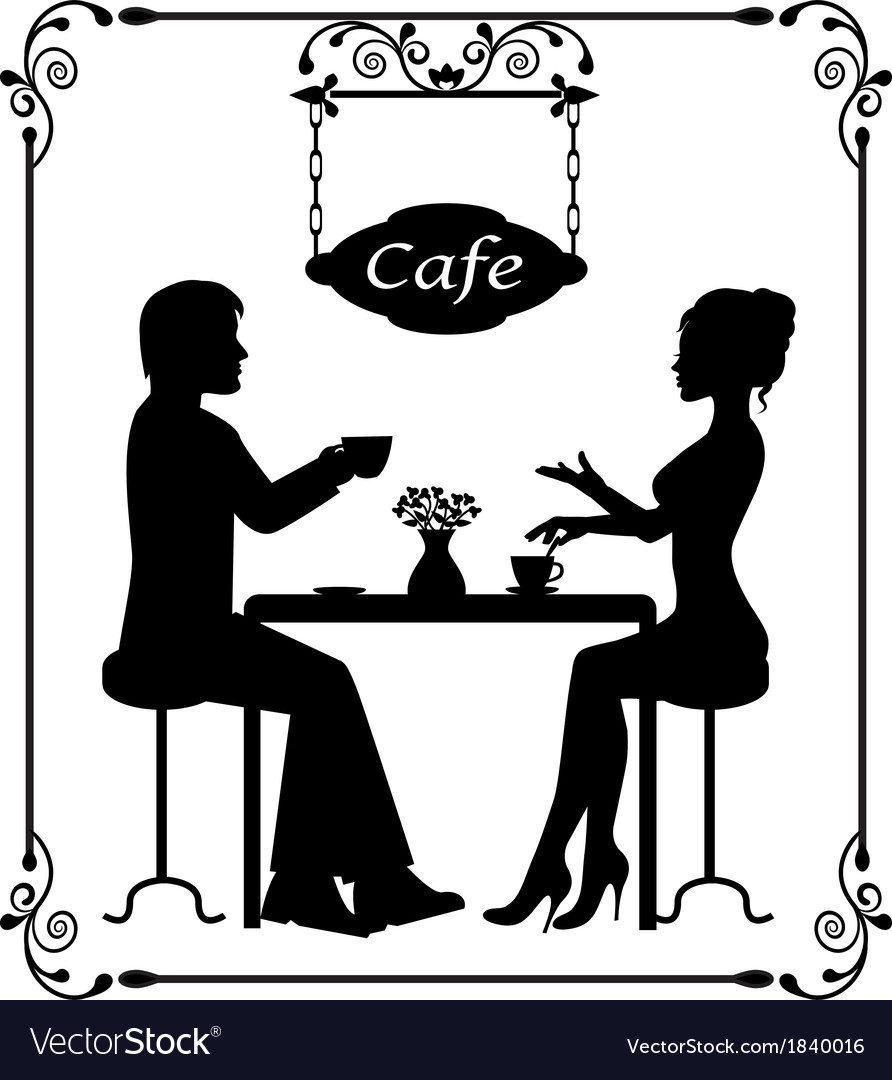 Silhouettes of a loving couple in a cafe and vinta vector | Price: 1 Credit (USD $1)