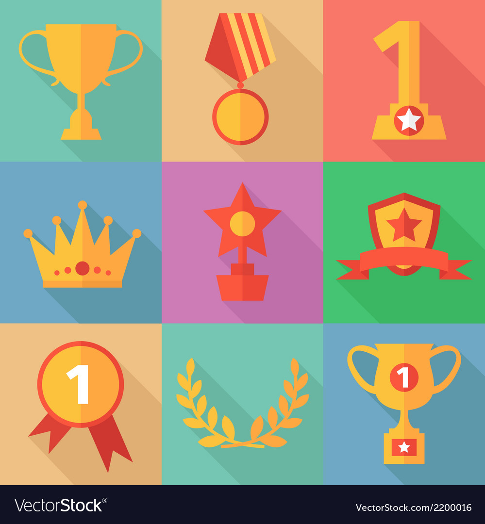 Success concept icons in flat design style vector | Price: 1 Credit (USD $1)