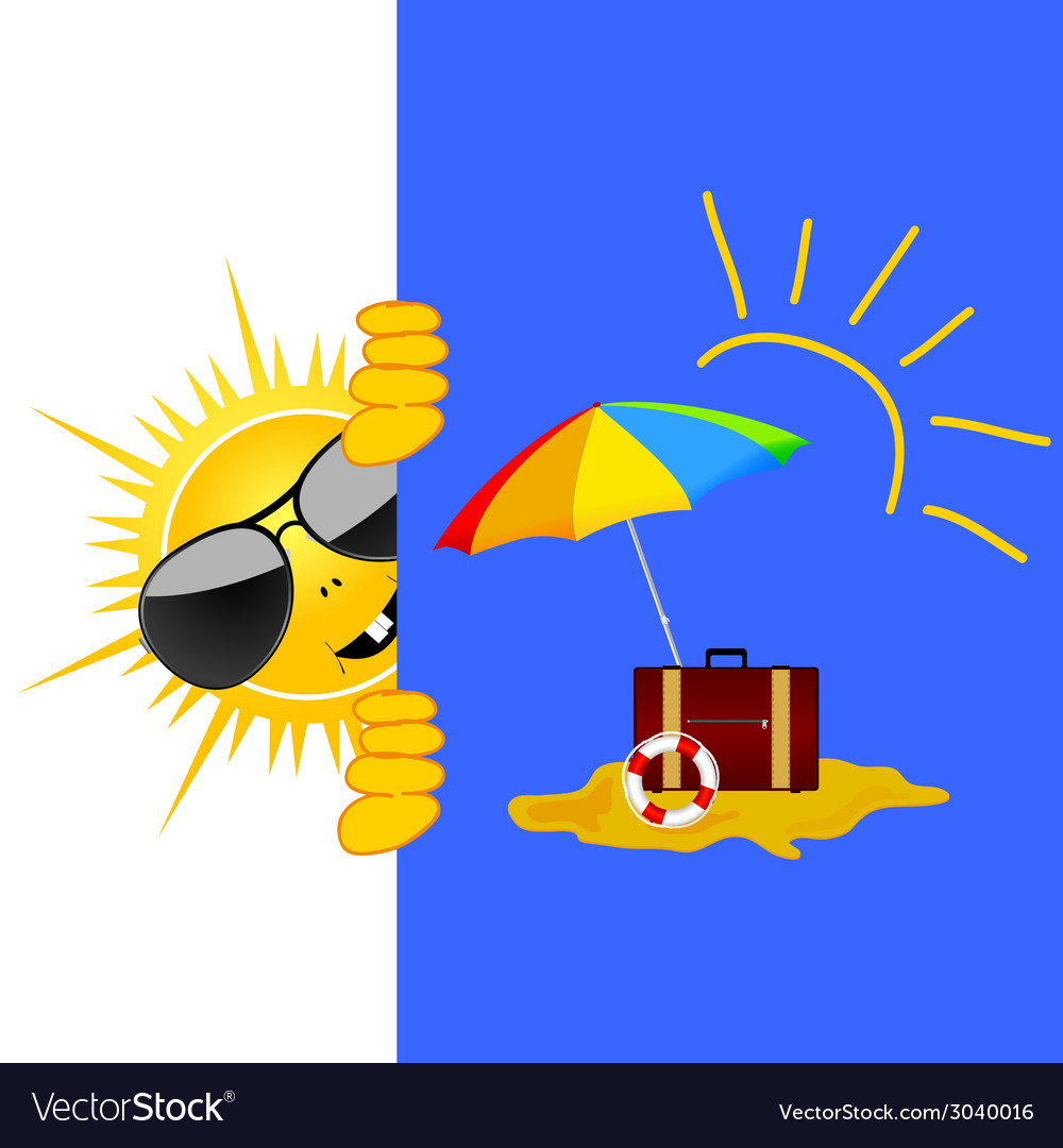 Sun and beach art vector | Price: 1 Credit (USD $1)