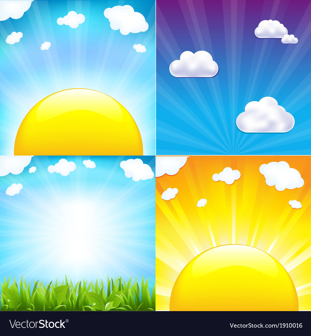 Sun with beams set vector | Price: 1 Credit (USD $1)