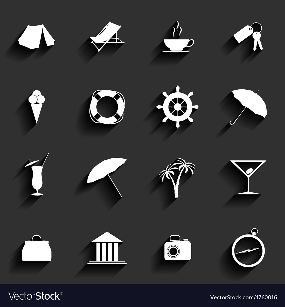 Traveling and vacation flat icons vector | Price: 1 Credit (USD $1)