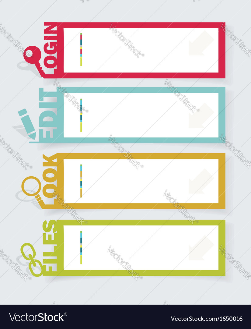 Web panel set infographics number options template vector | Price: 1 Credit (USD $1)